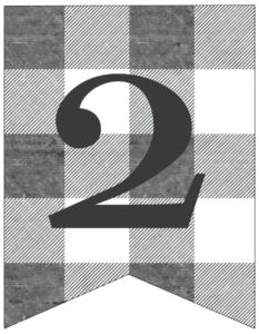 Number 2 gray and white plaid buffalo check banner pennant free printable.