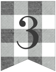 Number 3 gray and white plaid buffalo check banner pennant free printable.