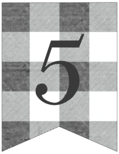 Number 5 gray and white plaid buffalo check banner pennant free printable.