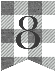 Number 8 gray and white plaid buffalo check banner pennant free printable.