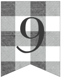 Number 9 gray and white plaid buffalo check banner pennant free printable.