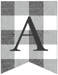Letter A gray and white plaid buffalo check banner pennant free printable.