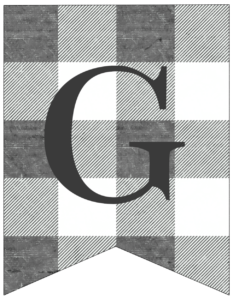 Letter G gray and white plaid buffalo check banner pennant free printable.