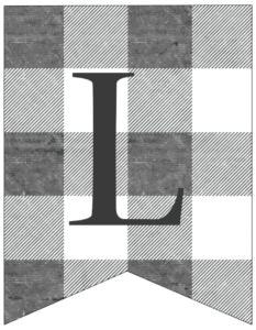 Letter L gray and white plaid buffalo check banner pennant free printable.