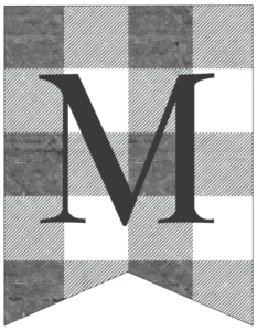 Letter M gray and white plaid buffalo check banner pennant free printable.