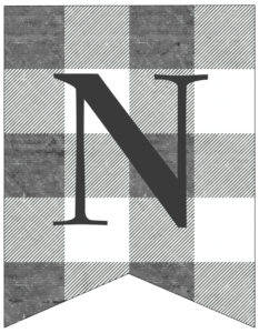 Letter N gray and white plaid buffalo check banner pennant free printable.