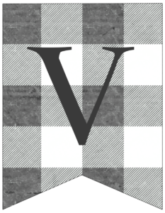 Letter V gray and white plaid buffalo check banner pennant free printable.