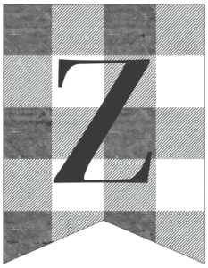 Letter Z gray and white plaid buffalo check banner pennant free printable.