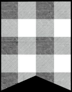 Blank banner gray and white plaid buffalo check banner pennant free printable.