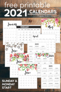 Lots of different free printable 2021 calendar options with text overlay- free printable 2021 calendars