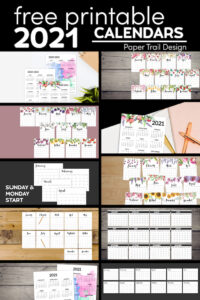 2021 calendars including basic, floral, horizontal, vertical, Sunday start, Monday start, monthly, and year at a glance with text overlay- free printable 2021 calendars
