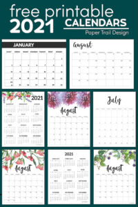Nine different 2021 calendar layouts to print for free with text overlay- free printable 2021 calendars
