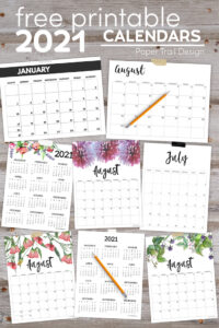 Floral , basic, vertical, horizonal, Sunday start, Monday start, monthly, and one page calendars for 2021 with text overlay- free printable 2021 calendars