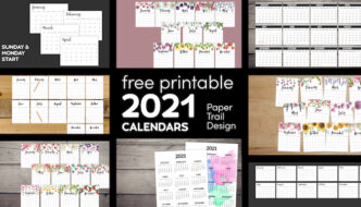2021 Horizontal, vertical, basic, floral, Sunday start, and Monday start calendars with text overlay- free printable 2021 calendars