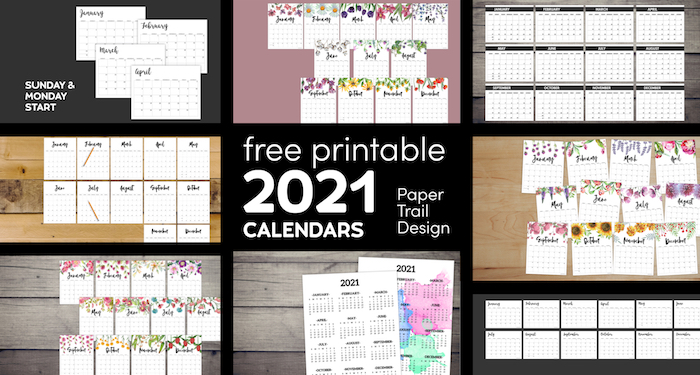 2021 Vertical Printable Calendar