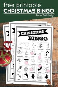 Christmas bingo cards with text overlay- free printable Christmas bingo