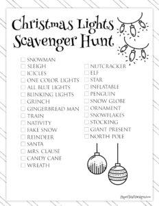 Free Printable Christmas Light Scavenger Hunt List
