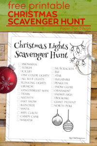 Christmas scavenger hunt game page with text overlay- free printable Christmas scavenger hunt