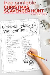 Christmas light scavenger hunt list with text overlay- free printable Christmas scavenger hunt