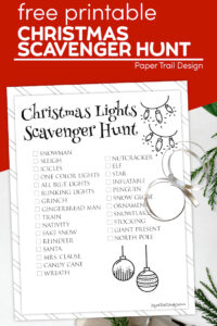 Christmas Lights Scavenger Hunt page with text overlay- free printable Christmas scavenger hunt