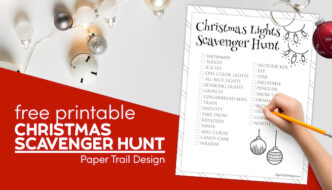 Christmas light scavenger hunt printable page with text overlay- free printable Christmas scavenger hunt