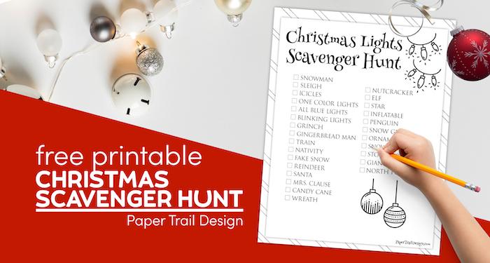 Christmas light scavenger hunt printable page with text overlay- free printable Christmas scavenger hunt