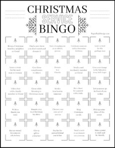 Christmas service bingo card with ideas for ways to serve others during the Christmas holiday season