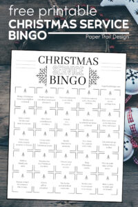 Christmas bingo card with ideas for service that you can do to light the world with text overlay- free ptintable Christmas service bingo