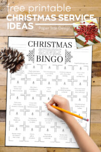 Printable Christmas bingo card with giving ideas with text overlay- free printable Christmas service ideas