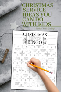 Service ideas bingo card to do at Christmas time with text overlay- Christmas service ideas you can do with kids