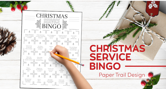 Christmas giving service bingo card with present and text overlay- Christmas service bingo