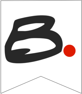 Letter B Friends themed Banner Letter with red dot