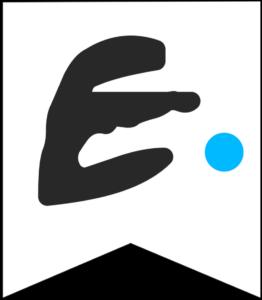 Letter E Friends themed Banner Letter with blue dot