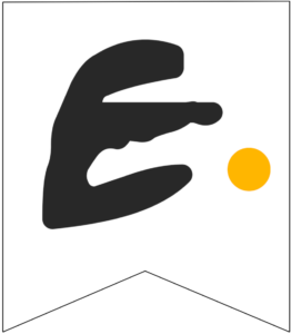 Letter E Friends themed Banner Letter with yellow dot