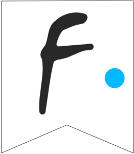 Letter F Friends themed Banner Letter with blue dot