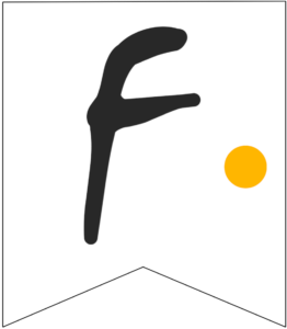 Letter F Friends themed Banner Letter with yellow dot