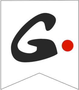 Letter G Friends themed Banner Letter with red dot