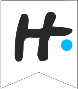 Letter H Friends themed Banner Letter with blue dot