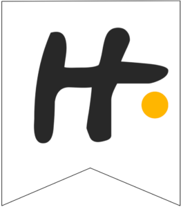 Letter H Friends themed Banner Letter with yellow dot