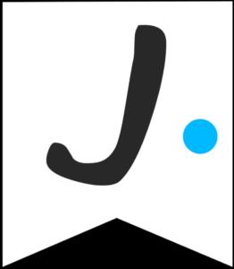 Letter J Friends themed Banner Letter with blue dot