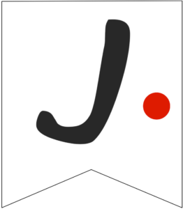 Letter J Friends themed Banner Letter with red dot