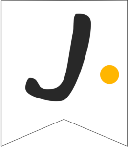 Letter J Friends themed Banner Letter with yellow dot