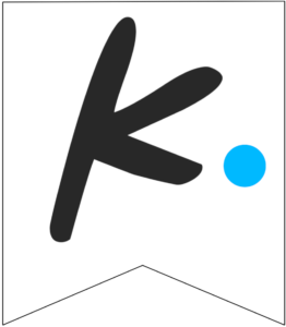 Letter K Friends themed Banner Letter with blue dot