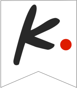 Letter K Friends themed Banner Letter with red dot