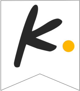 Letter K Friends themed Banner Letter with yellow dot