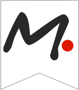 Letter M Friends themed Banner Letter with red dot