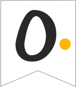 Letter O Friends themed Banner Letter with yellow dot