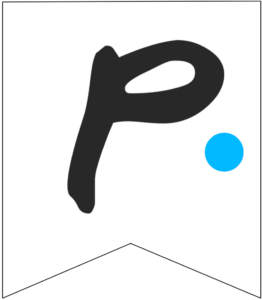 Letter P Friends themed Banner Letter with blue dot