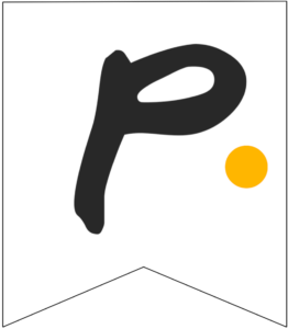 Letter P Friends themed Banner Letter with yellow dot