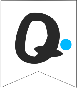 Letter Q Friends themed Banner Letter with blue dot